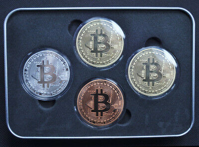 Bitcoin 4 Pcs/ set Coins (Collectible) Gold-Silver-Copper-Bronze. Fast Shipping.