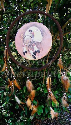 ~DREAM CATCHER LARGE EAGLE  BROWN~Wall Hanging~Ornament~Mobile~American Indian