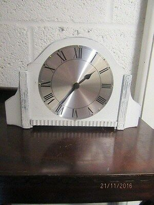 "Upcycled Shabby Chic Quartz Clock In Working Order 11.5"" x 7.5"""