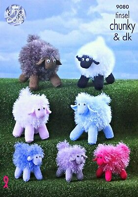 KNITTING PATTERN Tinsel Sheep Knitted Stuffed Toys 3 sizes Chunky King Cole 9080