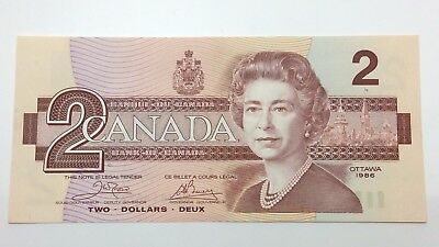 1986 Canada Two 2 Dollars Bill Note Uncirculated Banknote C873