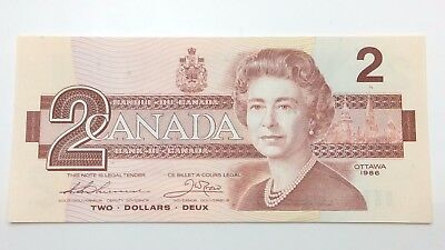 1986 Canada Two 2 Dollars Bill Note Uncirculated Banknote C876