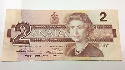 1986 Canada Circulated 2 Two Dollar BBX Prefix Canadian Banknote C880