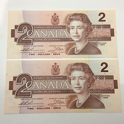 2 1986 Consecutive Uncirculated 2 Two Dollar BUV Prefix Canadian Banknotes C883