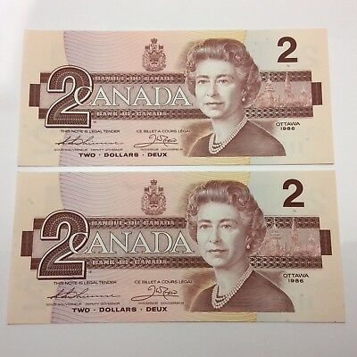 1986 2 Consecutive Canada 2 Two Dollar BGD Prefix BC55B Canadian Banknote C891