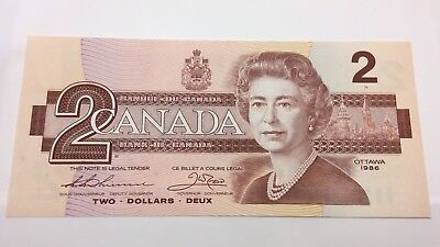 1986 Canada Uncirculated 2 Two Dollar BGC Prefix Canadian Banknote C896