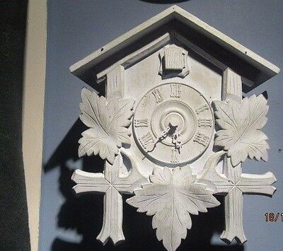 "Cuckoo Clock Upcycled Shabby Chic Quartz Clock In Working Order 11"" X 13"""