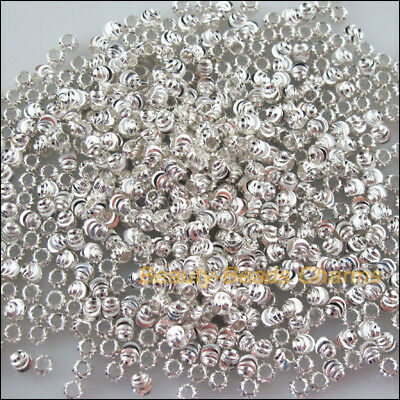 50Pcs Silver Plated Loose Pumpkin Ball Copper Spacer Beads Charms 4mm