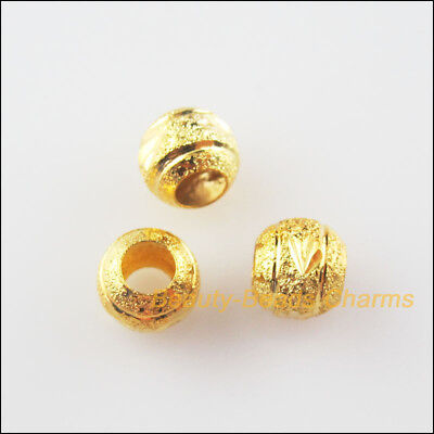 35Pcs Gold Plated Loose Round Ball Copper Flower Spacer Beads Charms 6mm