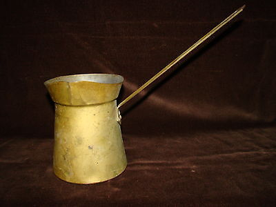 "Vtg Brass Plated Cottage Rustic Kitchen Ladle 7""+ Long Handle Dip Italy Pitcher"