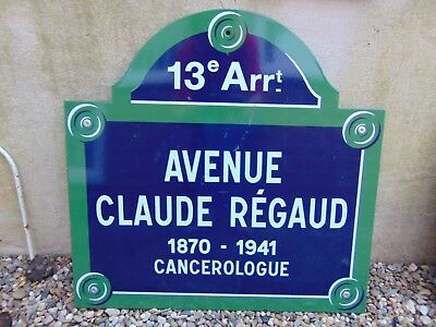AUTHENTIC FRENCH METAL PARIS STREET SIGN AVENUE CLAUDE REGAUD w/ POST MOUNTS