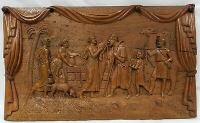 Antique Original Hand Carved Wood Bas Relief Biblical Plaque Rebecca at the Well