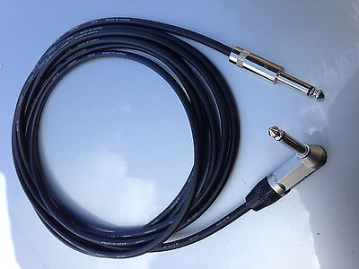 15FT Canare GS-6 w Neutrik Rean 1/4 TS Right Angle to 1/4 TS Guitar Patch Cable