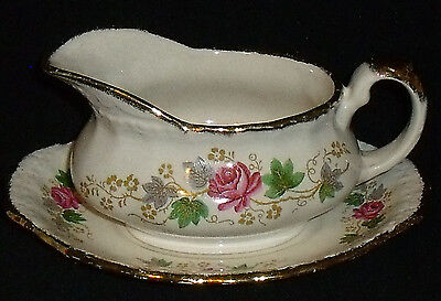 Grindley ROSE BOUQUET Gravy Boat and Underplate Vtg England