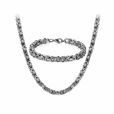 "Mens 8mm Byzantine Chain Stainless Steel 8.5"" Bracelet+22""/24""/26"" Necklace Set"