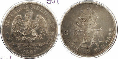 MEXICO: 1887-Mo M 50 Centavos Normal date #WC60913