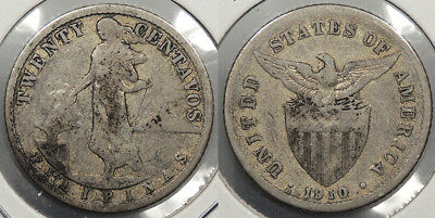 PHILIPPINES: 1910-S 20 Centavos Mintage 500,000. Better date. #WC74908
