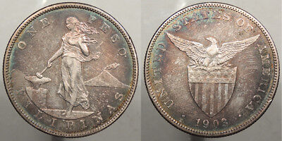 PHILIPPINES: US Administration 1903-S Peso Splendid colorful toning. #WC74974
