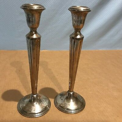 Pair of Birks Sterling Silver Weighted Candlesticks / Candle Holders