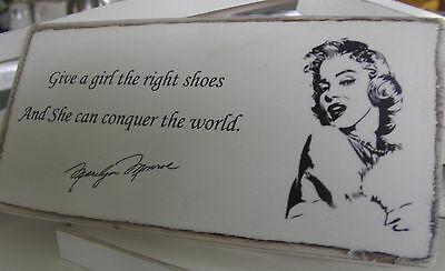Shabby Chic Marilyn Monroe. Picture Sign , Plaque. Solid Wood. Beautiful Gift.