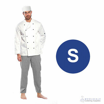Chef Student Uniform Kit Long Sleeve Coat White Hospitality Cook Kitchen Small