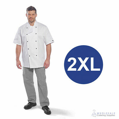 Chef Student Uniform Kit Short Sleeve Coat White With Shoes Cook Kitchen 2XL