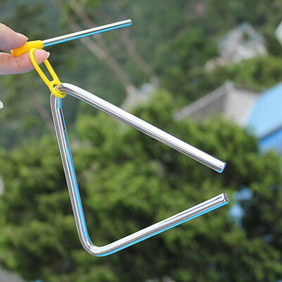 """4"""" Metal Musical Triangle and Beater Percussion Instrument Silver Music Toy"""