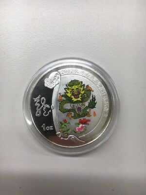 2012 China Zodiac Year of the Dragon Colored Silver Alloy Coin In Capsule