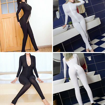 Women Laides Sexy Lingerie Open Crotch Striped Sheer Bodystocking Bodysuit Hot