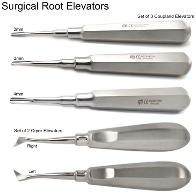 X5 Dental Root Elevators Coupland / Cryer Elevator Tooth Luxation Extracting Lab