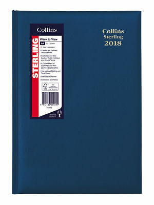 2018 Collins Sterling A4 1 Day to A Page DTP Diary 144.P99 30x22cm NAVY BLUE