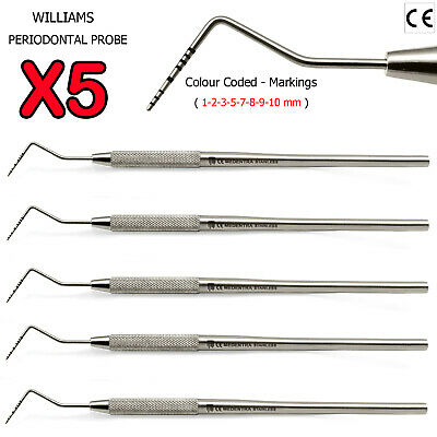 Dental Tooth BPE Examination Pocket Probe Periodontal Probes Williams 5PCS