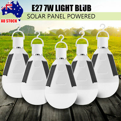5x Solar Panel Powered LED Bulb Light Portable Outdoor Garden Camping Tent Lamp