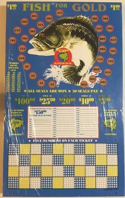 $1.00 FISH FOR GOLD Game Punch Card Money Board Raffle Gambling 1000 Hole
