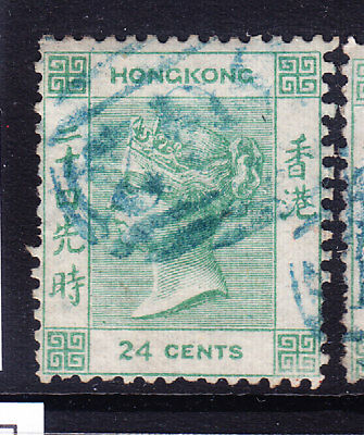 HONG KONG Queen Victoria 1862 SG5 24c green - no wmk good to fine used. Cat £120