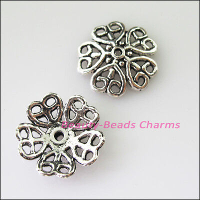 6 New Connectors Heart Flower Tibetan Silver Tone End Bead Caps 18mm