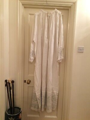 Vintage Long White Cotton Priest Robe Shirt Night Gown Grey Embroidery Large