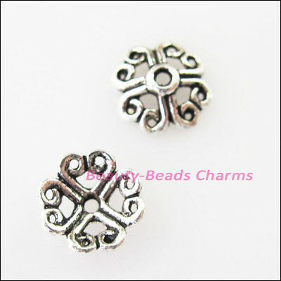 30 New Connectors Heart Flower Tibetan Silver Tone End Bead Caps 9mm