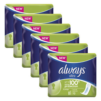 Always Ultra Normal Without Wings 12 Pack x 6,Total 72 Pads-100% Protection