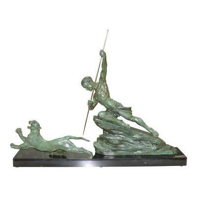 """Monumental French Art Deco Bronze Sculpture by''R.Varnier"""" Man with Panthers ."""