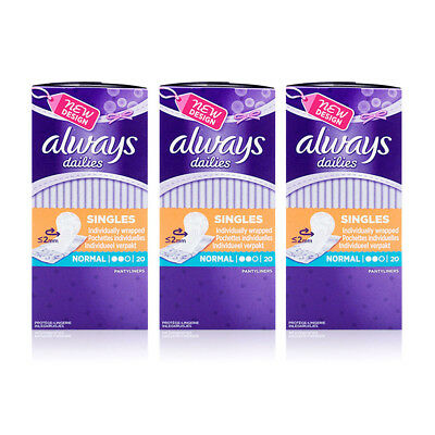 Always Dailies Normal 20 x 3 Individually Wrapped Pantyliners (60 pads)