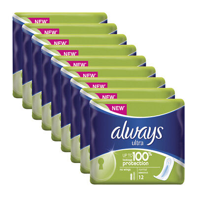 Always Ultra Normal Without Wings 12 Pack x 9,Total 108 Pads-100% Protection