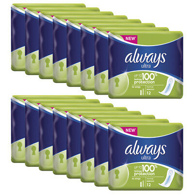 Always Ultra Normal Without Wings 12 Pack x 16,Total 192 Pads - 100% Protection