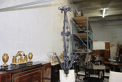 Monumental  French Art Deco Body Chandelier Iron Circa 1930s  AS IS