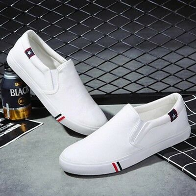 CO_ Cool Men No Shoelaces Loafers Leisure Slip on Canvas Shoes Casual Sneakers C