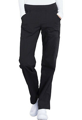 Black Cherokee Scrubs Workwear Professionals Mid Rise Pull On Pants WW170 BLK