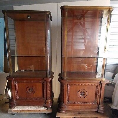 Pair of Antique French Glass Display Cabinet - 1905 Paris jewelry store.