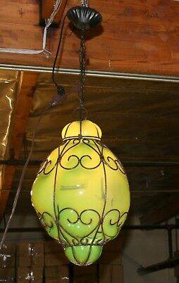 Modern Hand Crafted Wrought Iron Ceiling Lamp  &green Glass Europe /romania