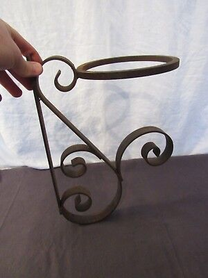 Vtg Hand Made Wrought Iron Scrolled Scroll Wire Plant Stand Holder Wall Mount