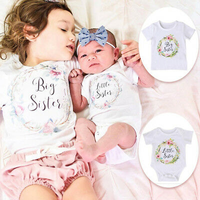 CO_ Girl Baby Cotton Clothes Little Big Sister Floral T-shirt Jumpsuit Romper Wh